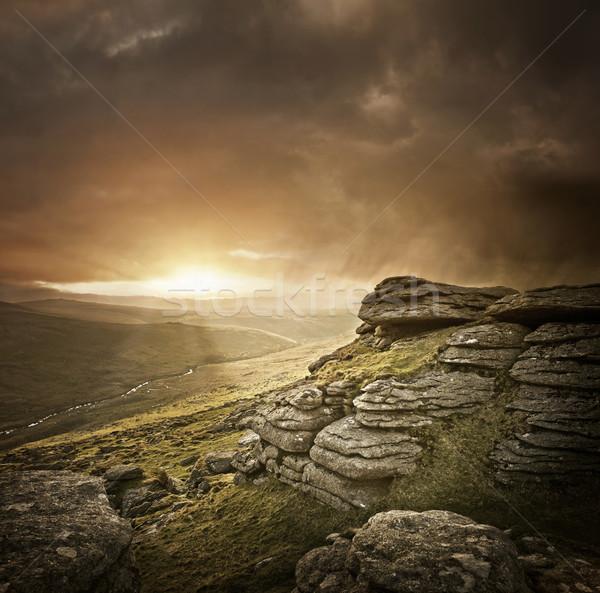 Dramatisch wild landschap achtergrond berg rock Stockfoto © solarseven