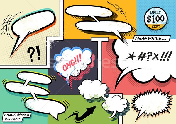 Retro Comic Speech Bubbles Stock photo © solarseven