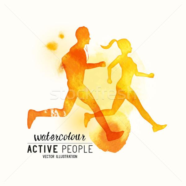 Aquarel lopen mensen vector actief stijl Stockfoto © solarseven