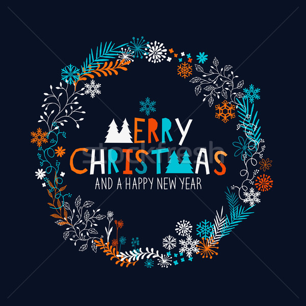 Сток-фото: веселый · Рождества · венок · цветочный · структур