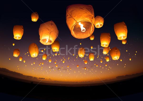 Repülés kínai lámpások nagyobb csoport csoport éjszaka Stock fotó © solarseven