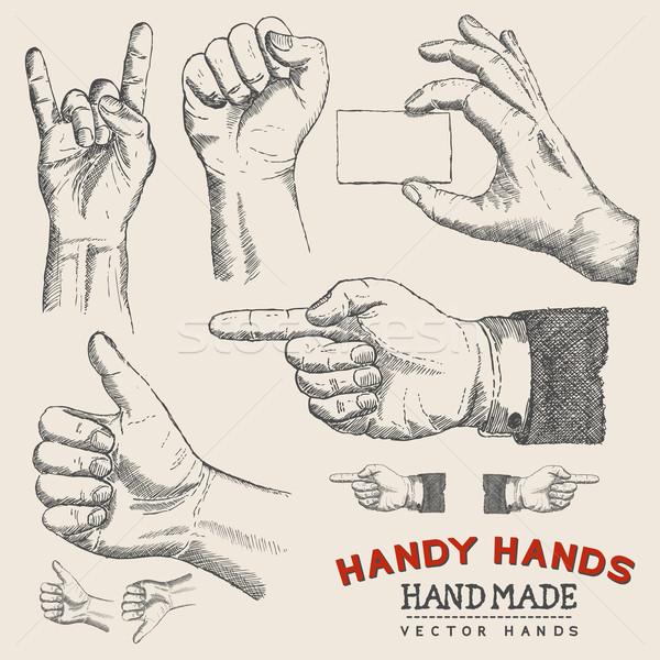 Handy Hands - Vector Hands Set  Stock photo © solarseven