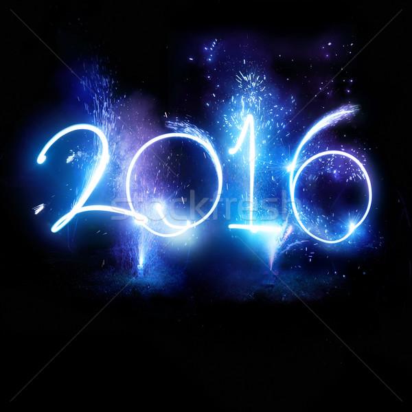 Stock fotó: Boldog · új · évet · 2016 · új · év · felirat · felfelé · tűzijáték