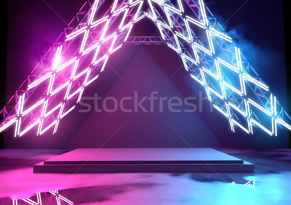 Bright Neon Lighting And Platform Stock photo © solarseven