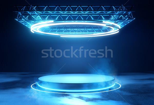 未来的な ステージ プラットフォーム 照明 技術 青 ストックフォト © solarseven