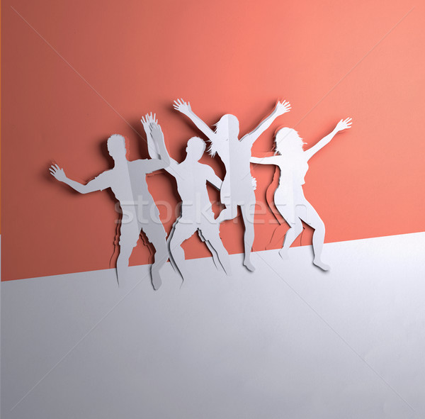 Paper Art - Jumping People Stock photo © solarseven
