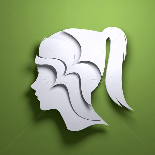 Kâğıt sanat origami soyut akla katlanmış Stok fotoğraf © solarseven