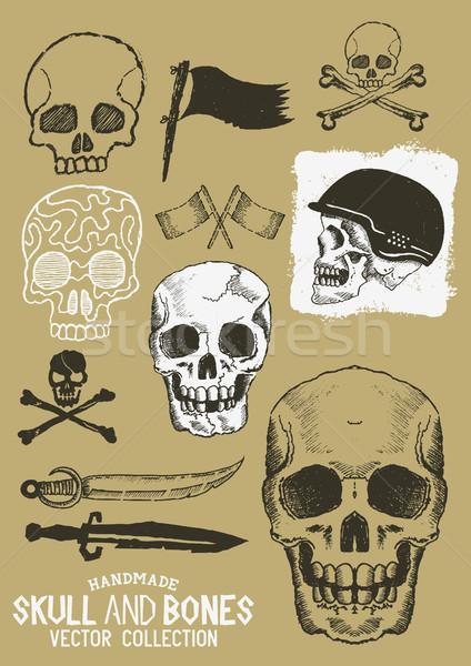Stock photo: Vector Pirate Skull and Bones Set