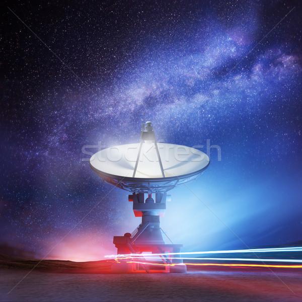 Zdjęcia stock: Gwiazdki · radio · teleskop · wskazując · nieba · astronomia
