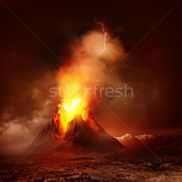 Vulkaan uitbarsting groot hot lava atmosfeer Stockfoto © solarseven
