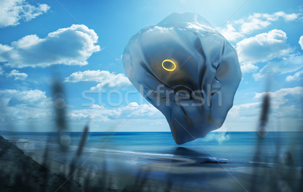Strange Object Hovering Over A Beach Stock photo © solarseven