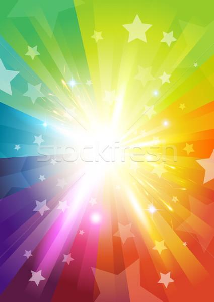 Szín kitörés csillagok jókedv szivárvány tapéta Stock fotó © solarseven