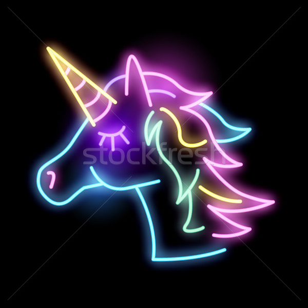 Colourful Neon Unicorn Light Sign Stock photo © solarseven