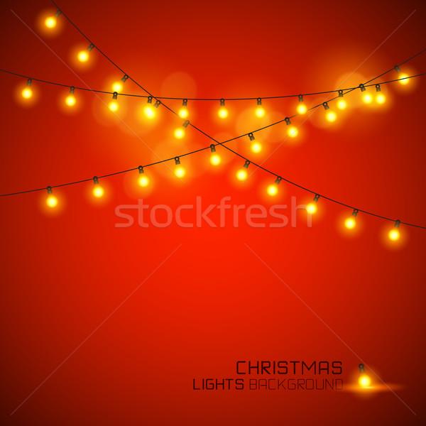 Warm christmas lichten ontwerp Rood Stockfoto © solarseven