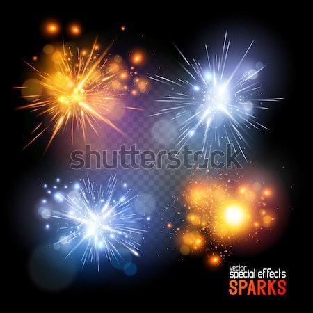 Vetor coleção bolas de fogo especial efeito sol Foto stock © solarseven