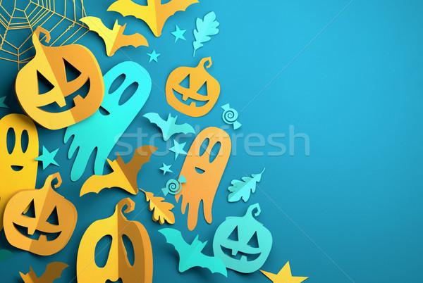 Paper Art - Halloween Festive Decorations Background Stock photo © solarseven