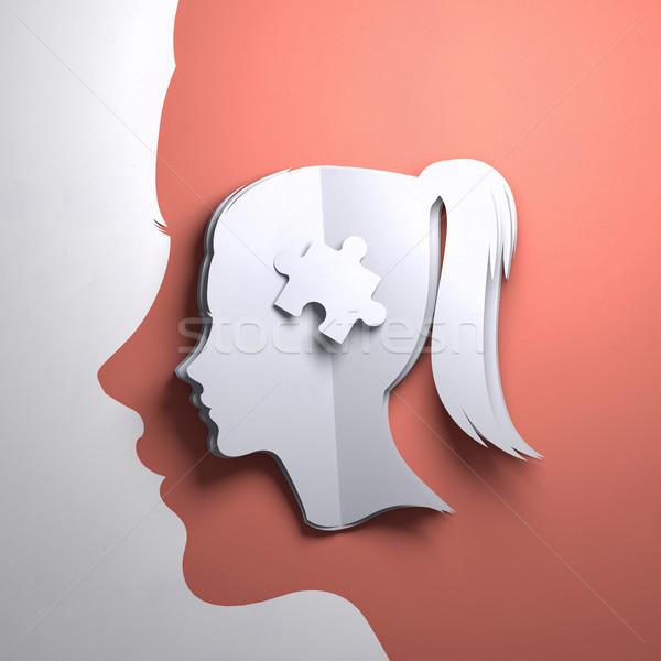 Papír művészet origami összehajtva sziluett fej Stock fotó © solarseven