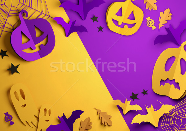 Paper Art - Happy Halloween Background Stock photo © solarseven