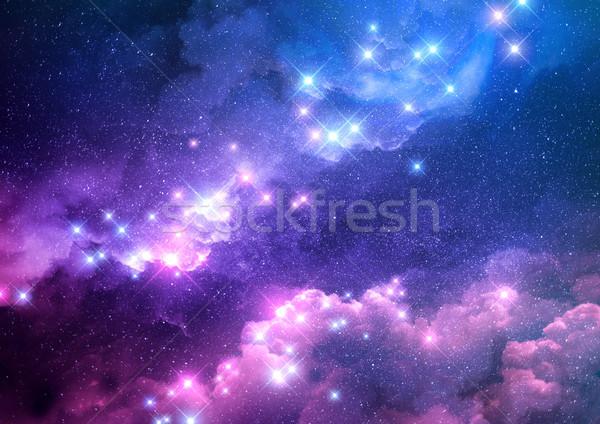 Foto stock: Resumen · galaxia · rosa · azul · brillante · estrellas