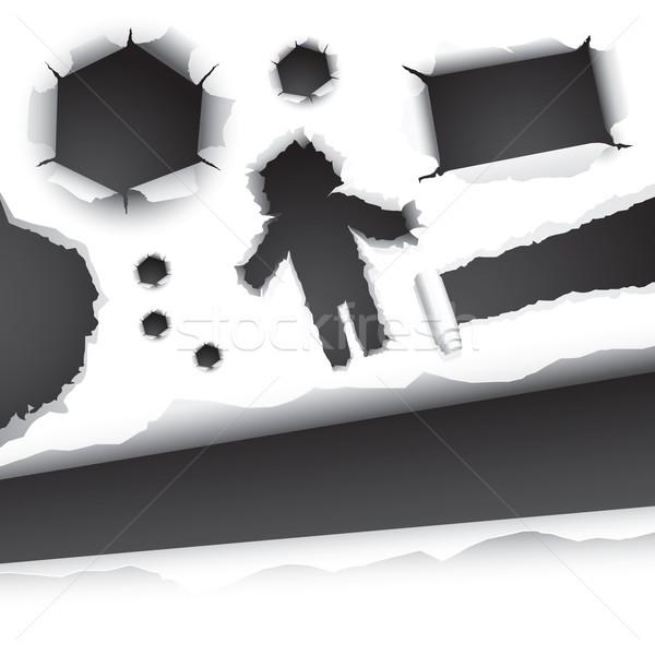 Desgaste rasgar papel coleção elementos branco Foto stock © solarseven