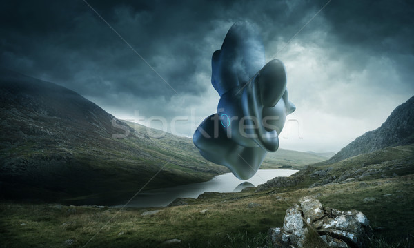 Strange Object Hovering Over a Mountain Lake Stock photo © solarseven