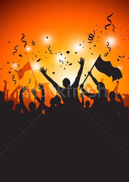 Publiek fase verlichting gelukkig menigte concert Stockfoto © solarseven