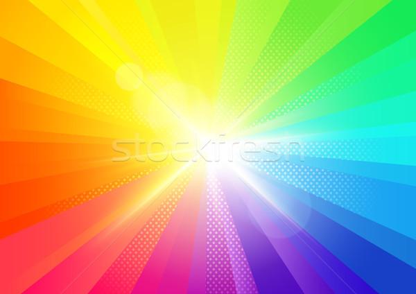 Szivárvány kitörés sugarak fényes buli absztrakt Stock fotó © solarseven