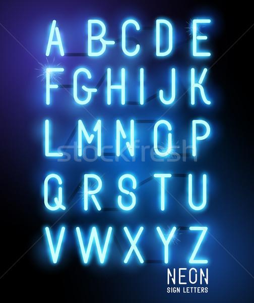 レトロな ネオン 青 にログイン 文字 ストックフォト © solarseven