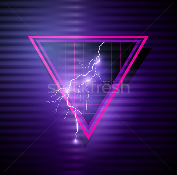 Retro 1980's Element with triangles and lightning bolts Stock photo © solarseven