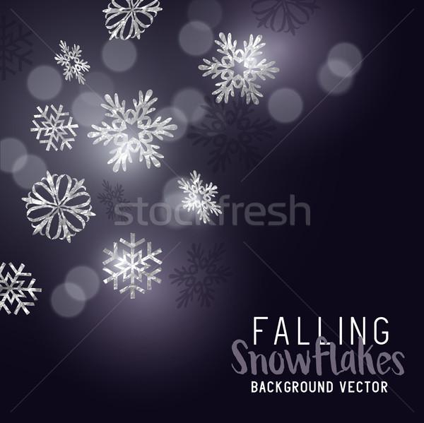 Zuhan tél hópelyhek ezüst csillogó divat Stock fotó © solarseven