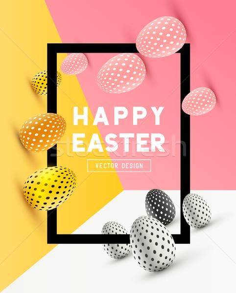 Streszczenie Wielkanoc ramki projektu 3D Zdjęcia stock © solarseven