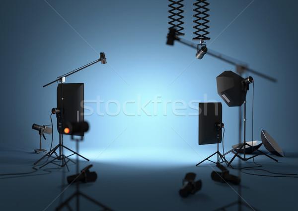 Blu vuota fotografia studio apparecchi di illuminazione illustrazione 3d Foto d'archivio © solarseven