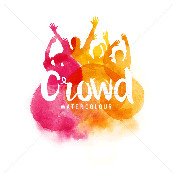 水彩画 群衆 人 幸せ 若者 コンサート ストックフォト © solarseven