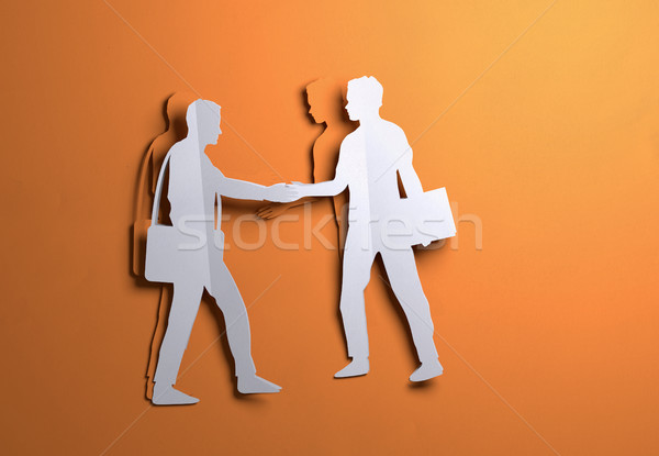 Paper Art -  Businessmen shaking hands On A Deal Stock photo © solarseven
