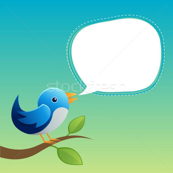 Azul chilro pássaro balão de fala natureza Foto stock © solarseven