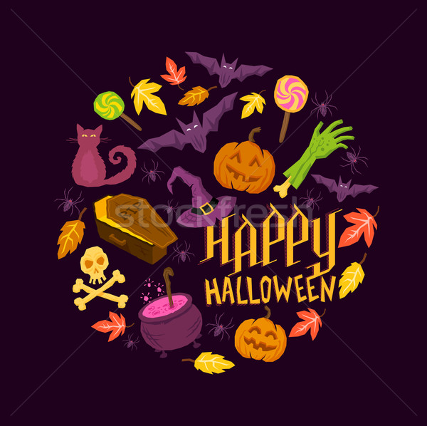 Photo stock: Halloween · symboles · araignées · zombie