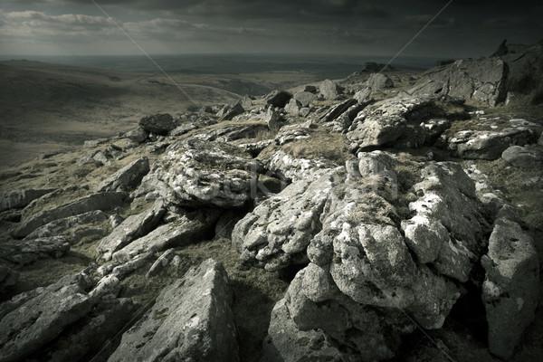 Egyenetlen vad tájkép háttér hegy kövek Stock fotó © solarseven