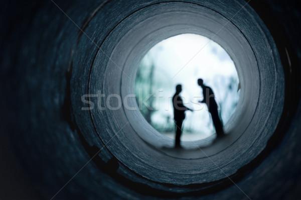 Iş yeraltı dünyası iki iş adamları toplantı yalıtılmış Stok fotoğraf © solarseven