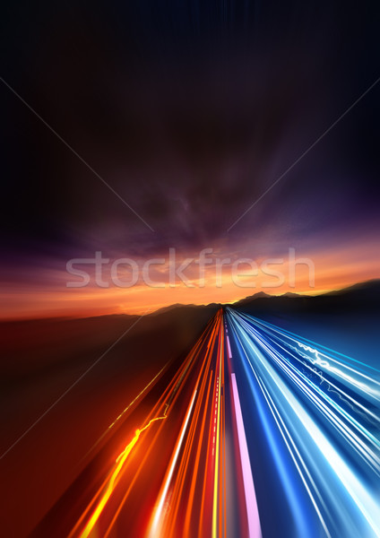 Stockfoto: Super · snel · licht · afgelegen · landschap