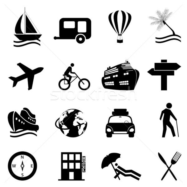 Leisure, travel and recreation icon set Stock photo © soleilc