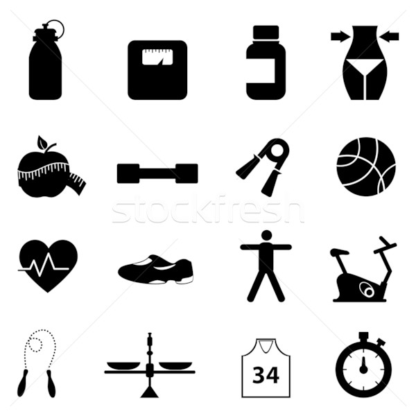 Fitness and diet icon set Stock photo © soleilc