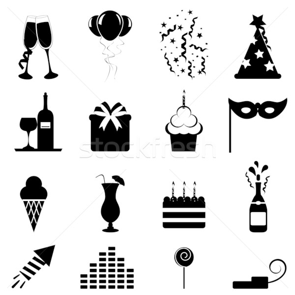 Party and celebration icons Stock photo © soleilc