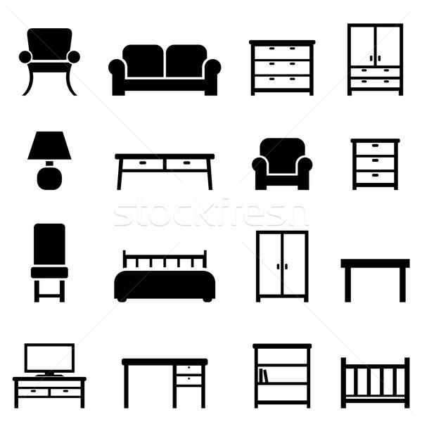 Lakberendezés bútor ikonok ikon gyűjtemény ház televízió Stock fotó © soleilc