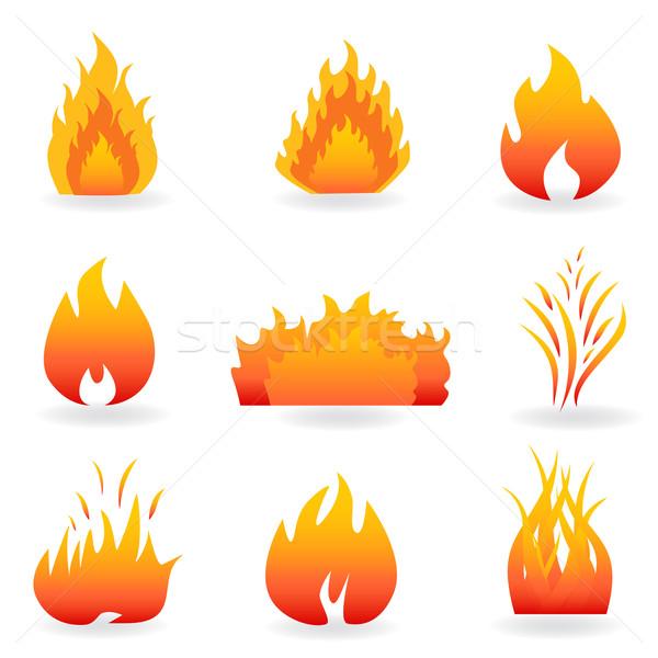 Excepcional Chama · fogo · símbolos · ícones · quente · desenho - ilustração  AG68