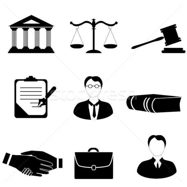 Justice, legal and law icons Stock photo © soleilc