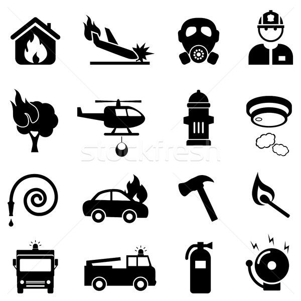 Fire fighting web icon set Stock photo © soleilc