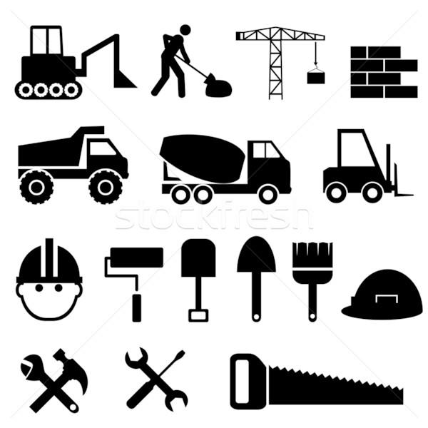 Bouw bouwmaterialen tools vrachtwagen silhouet Stockfoto © soleilc
