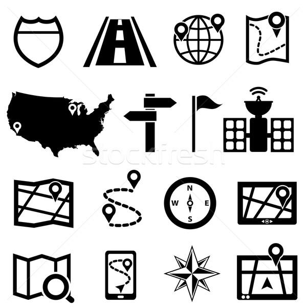 Zdjęcia stock: GPS · nawigacja · ikona · drogowego · samochodu