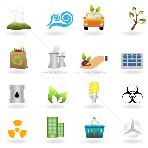 Eco and green icons Stock photo © soleilc