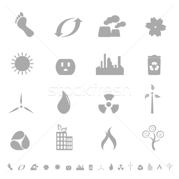 Ecologic symbols icon set Stock photo © soleilc